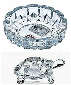 SMART SKILL CREATIVE HANDICRAFT - CRYSTAL LUCKY TORTOISE  WITH TRAY- SMALL