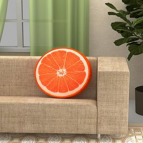 The Intellect Bazaar Super soft sponge premium Round Fruit Cushion, Orange