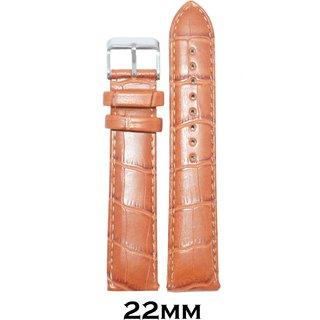 Kolet 22mm Croco Padded Leather Watch Strap (Tan)