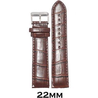 Kolet 22Mm Croco Padded Leather Watch Strap (Brown)