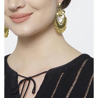 Cemaya Afghani Jhumki Peacock Earrings For Women(Black)