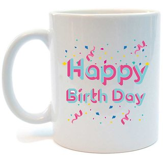 Juvixbuy Happy birthday Printed Ceramic Coffee Mug