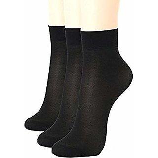 CH Fashion Black Transparent Nylon Socks for Girl Pack of 3