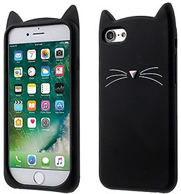 POSH PEOPLE 3D CUTE CARTOON CAT BEARD SILICON CASE COVER FOR IPHONE 7 (BLACK)