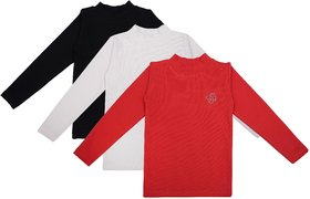 NEUVIN Full Sleeve Girl's Tshirt (Pack of 3)_C-RD_WT_BK_1-2Y