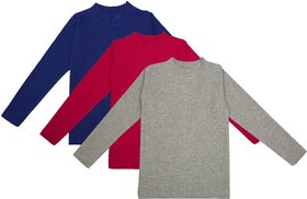 NEUVIN Full Sleeve Girl's Tshirt (Pack of 3)_GRY_D-PK_BL_1-2Y