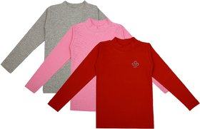 NEUVIN Full Sleeve Girl's Tshirt (Pack of 3)_RD_PK_GRY_1-2Y