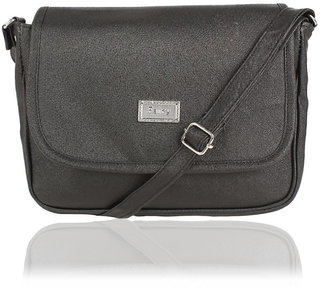 bd7f3fa2685cf5 Dutty Faux Leather Solid Black Magnetic Snap Crossbody Bag