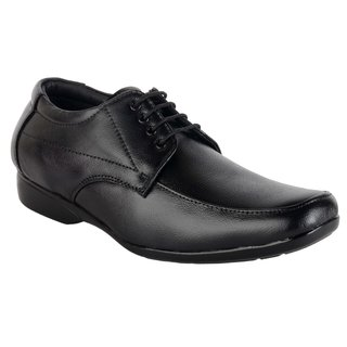 ShoeAdda Lace Up Black Leather Shoes