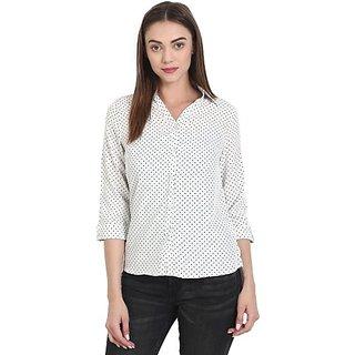 Wish Tree Women Polka Print Casual Button Down Shirt