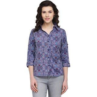 Wish Tree Women Geometric Print Casual Button Down Shirt
