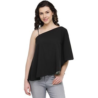 3eae182b3f2cf Buy Wish Tree Casual Shoulder Strap Solid Women Black Top Online - Get 65%  Off