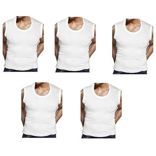 GMR Men's cotton vest white combo pack of 5 ( 95  100CM )
