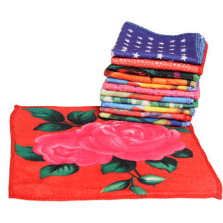 Aashish Collections Set of 12 Printed 200 GSM Multicolor Face Towel - Size 25 Cm * 25 Cm