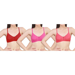 bbecb5809fd Epoxy Seamless Hoseiry Cotton With Adujstable Strap Non Padded Bra For  Women s combo (Pack Of