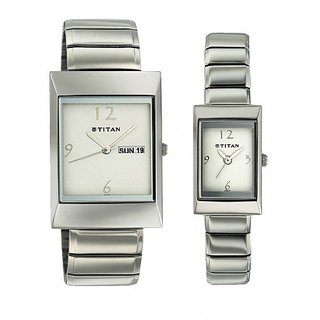Titan Bandhan Analog White Dial Couples Watch - NE19572957SM01