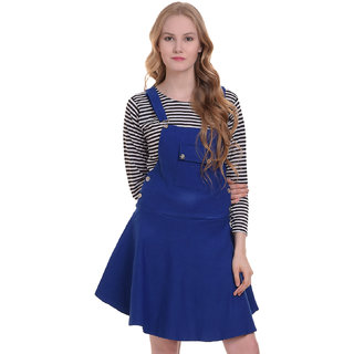 BuyNewTrend Cotton Lycra Royal Blue Dungaree Skirt with Top For Women