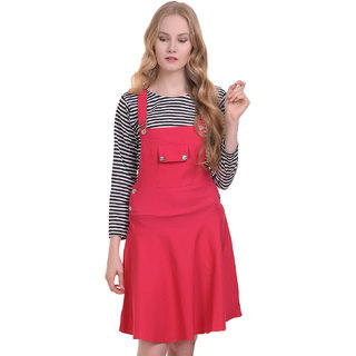 BuyNewTrend Cotton Lycra Pink Dungaree Skirt with Top For Women