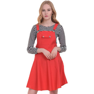 BuyNewTrend Cotton Lycra Gajri Dungaree Skirt with Top For Women