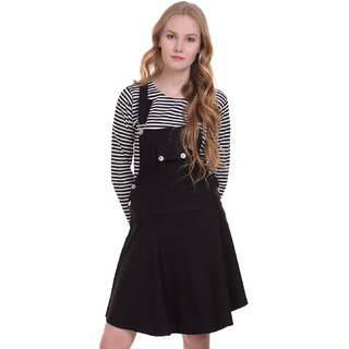 BuyNewTrend Cotton Lycra Black Dungaree Skirt with Top For Women