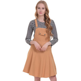 BuyNewTrend Cotton Lycra Beige Dungaree Skirt with Top For Women