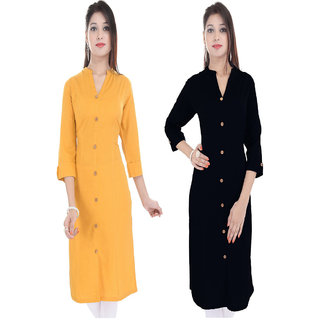 Purvahi Mango yellow and black color Plain stitched kurti (Pack of 2 )
