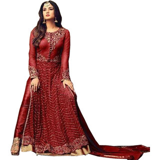 FASHION CARE Women's Georgette,Net Embroidered Semi Stitched Dress Material(RedFree SizeKCSTMS-4707RED)