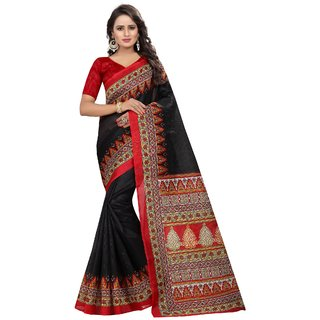 Vibha Black Color Bhagalpuri Printed Saree -Devdas Black