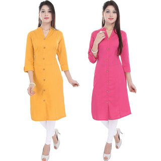 Purvahi Mango yellow and pink color Plain stitched kurti (Pack of 2 )