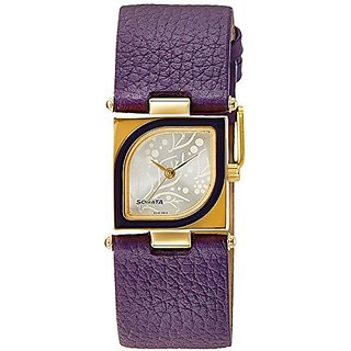Sonata Yuva Gold Analog Silver Dial Womens Watch - ND8919YL03A
