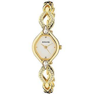 Sonata Sona Sitara Analog White Dial Womens Watch - NF8063YM03