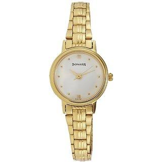 Sonata Analog White Dial Womens Watch - 8096YM01