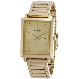Sonata Analog Gold Dial Mens Watch - NF7078YM04