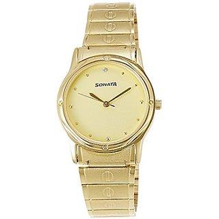 Sonata Analog Champagne Dial Mens Watch - NC7023YM02