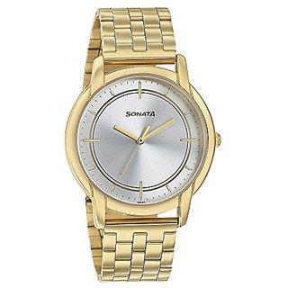 Sonata Analog Gold Dial Mens Watch-77031ym05