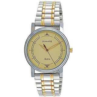 Sonata Analog Champagne Dial Mens Watch-77056BM01J