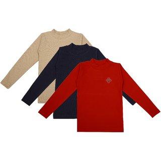 NEUVIN Full Sleeve Girl's Tshirt (Pack of 3)_RD_N-BL_BG_1-2Y