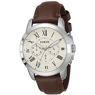 Fossil Grant Chronograph Beige Dial Mens Watch - FS4735