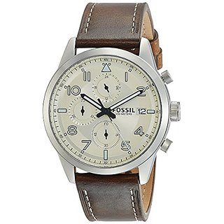 Fossil Chronograph Off-White Dial Mens Watch-FS5138I