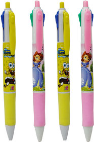 Toys Factory 4 Grip pen Multi Colour Set of 4 (different Colours Refill in 1 Pen)