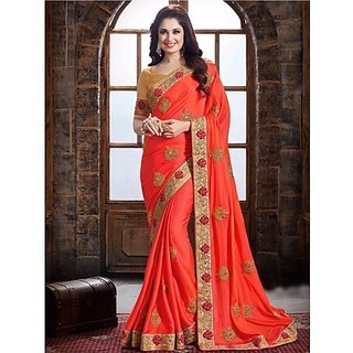 d930771b5aabb Buy Designer Bahu orange Color Paper Silk Saree Online - Get 65% Off