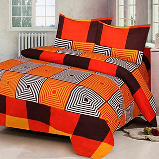 Chawla fashion Orange Squer Double Bedsheet + Pillow Cover