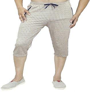 Harvi Mens Cotton Three Fourth Capri Shorts with  Pockets 0092