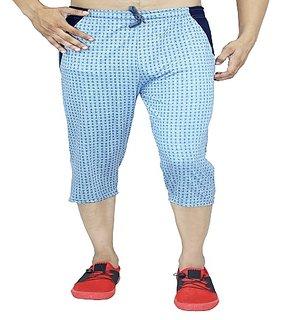 Harvi Mens Cotton Three Fourth Capri Shorts with  Pockets 0093