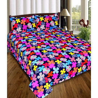 Chawla Multiflower GT Double Bedsheet With Pillow Cover pack of 1