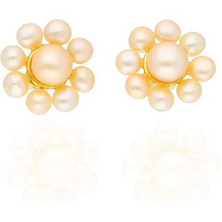 Lotus Ear Studs By Sri Jagdamba Pearls
