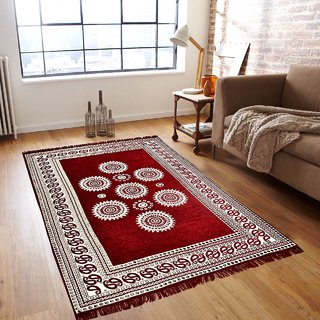 Manvi Creations Maroon Cotton Designer Carpet (5 Feet X 7 feet)