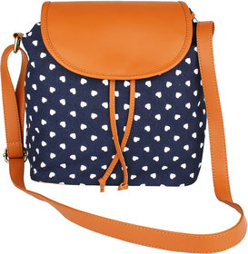 Lychee Bags Girls Casual Blue Canvas, PU Sling Bag