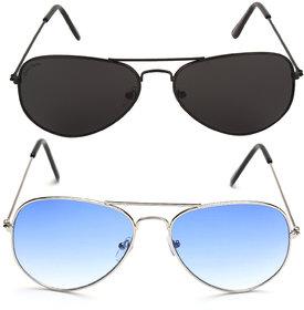 David Martin Blue & Black UV Protection Aviator Medium Full Rim Silver Metal Unisex Sunglasses - Combo