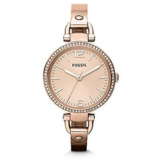 Fossil Georgia Analog Rose Gold Dial Womens Watch - ES3226